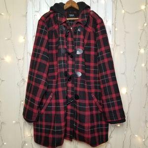 Torrid 4 Red Plaid Toggle Peacoat Jacket